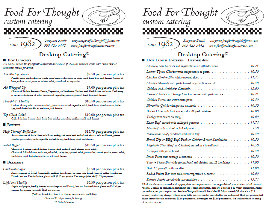 Food For Thought Desktop Catering Menu